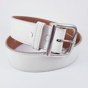 Justin Boots White Top Grain Cowhide Leather Belt